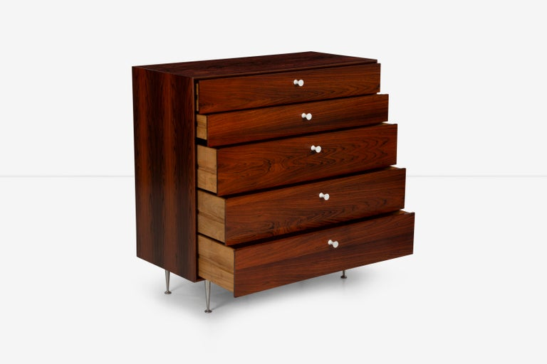 George Nelson Five-Drawer Thin Edge Rosewood Dresser For Sale 3