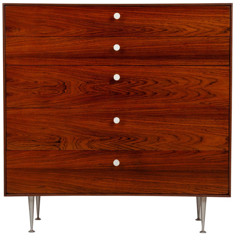 George Nelson Five-Drawer Thin Edge Rosewood Dresser For Sale