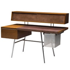 George Nelson for H. Miller Desk Model 4658 in Walnut, Leather and Steel