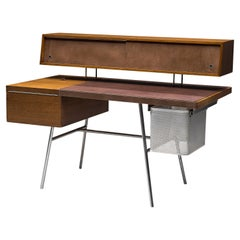 George Nelson for H. Miller Desk Model '4658' in Walnut, Leather and Steel