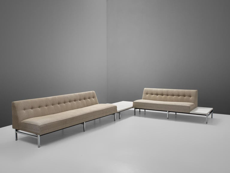 George Nelson for Herman Miller living room set, 1960s, United States.  Very Fine living room set by George Nelson (1908-1986) for Herman Miller. This sofa has a metal frame with square chrome-plated legs, the seats are in wonderful thick