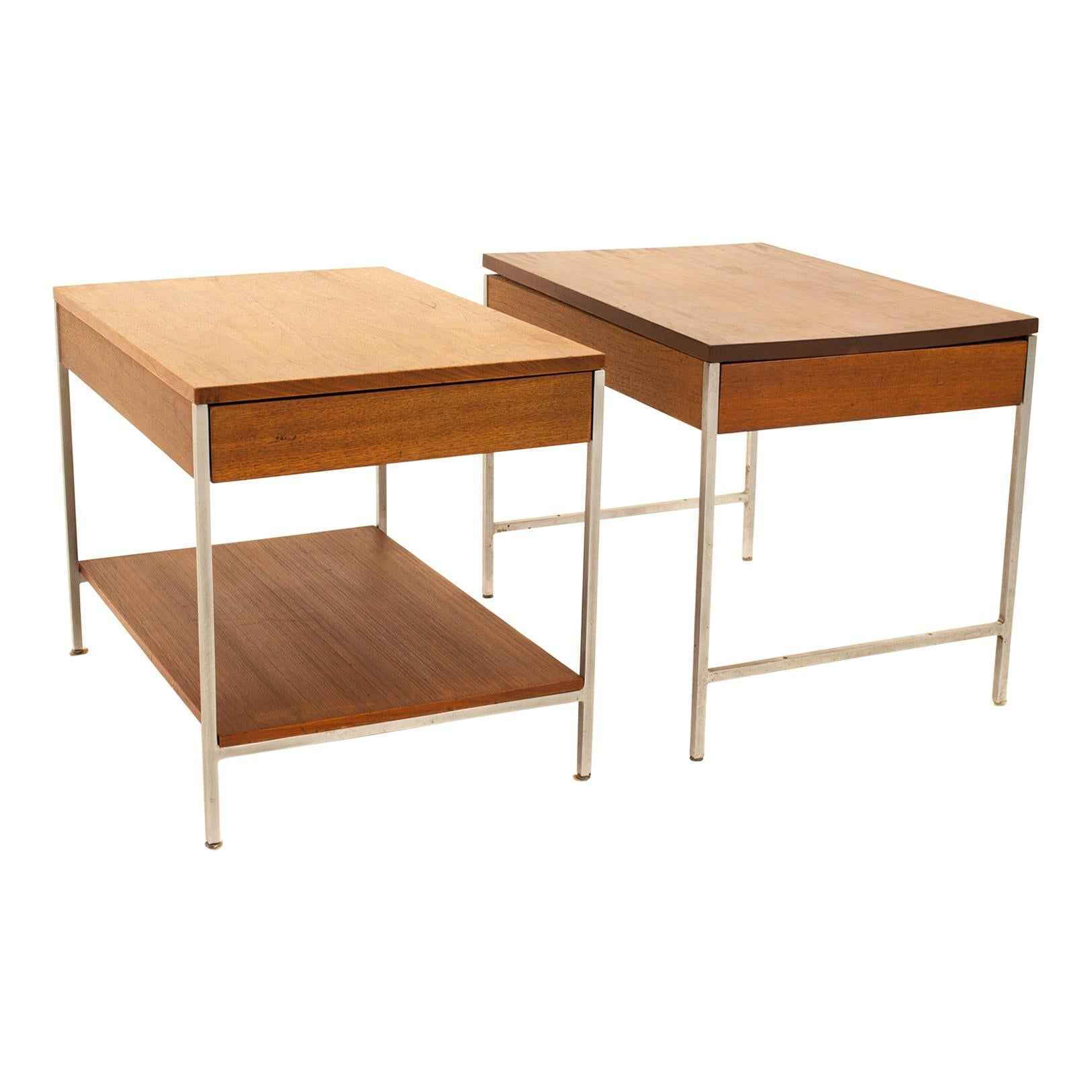 George Nelson for Herman Miller Mid Century Chrome and Walnut End Tables, Pair
