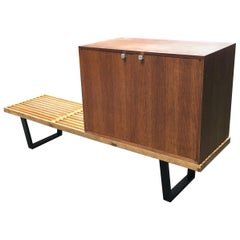 George Nelson for Herman Miller Slat Bench and Oak Cabinet