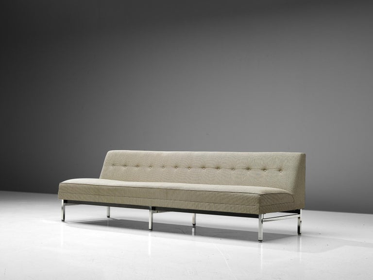 George Nelson for Herman Miller, sofa, metal, fabric upholstery, United States, 1960s  Very fine sofa by George Nelson (1908-1986) for Herman Miller. This sofa has a metal frame with square chrome-plated legs, the seats are in wonderful thick