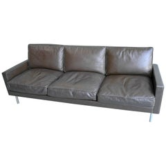 George Nelson for Herman Miller Three-Seat Sofa in Brown Leather, Model 5683