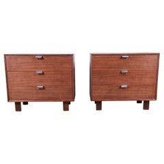 George Nelson for Herman Miller Walnut Bachelor Chests or Nightstands, Pair