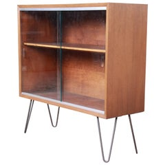 George Nelson for Herman Miller Walnut Glass Front Bookcase on Hairpin Legs
