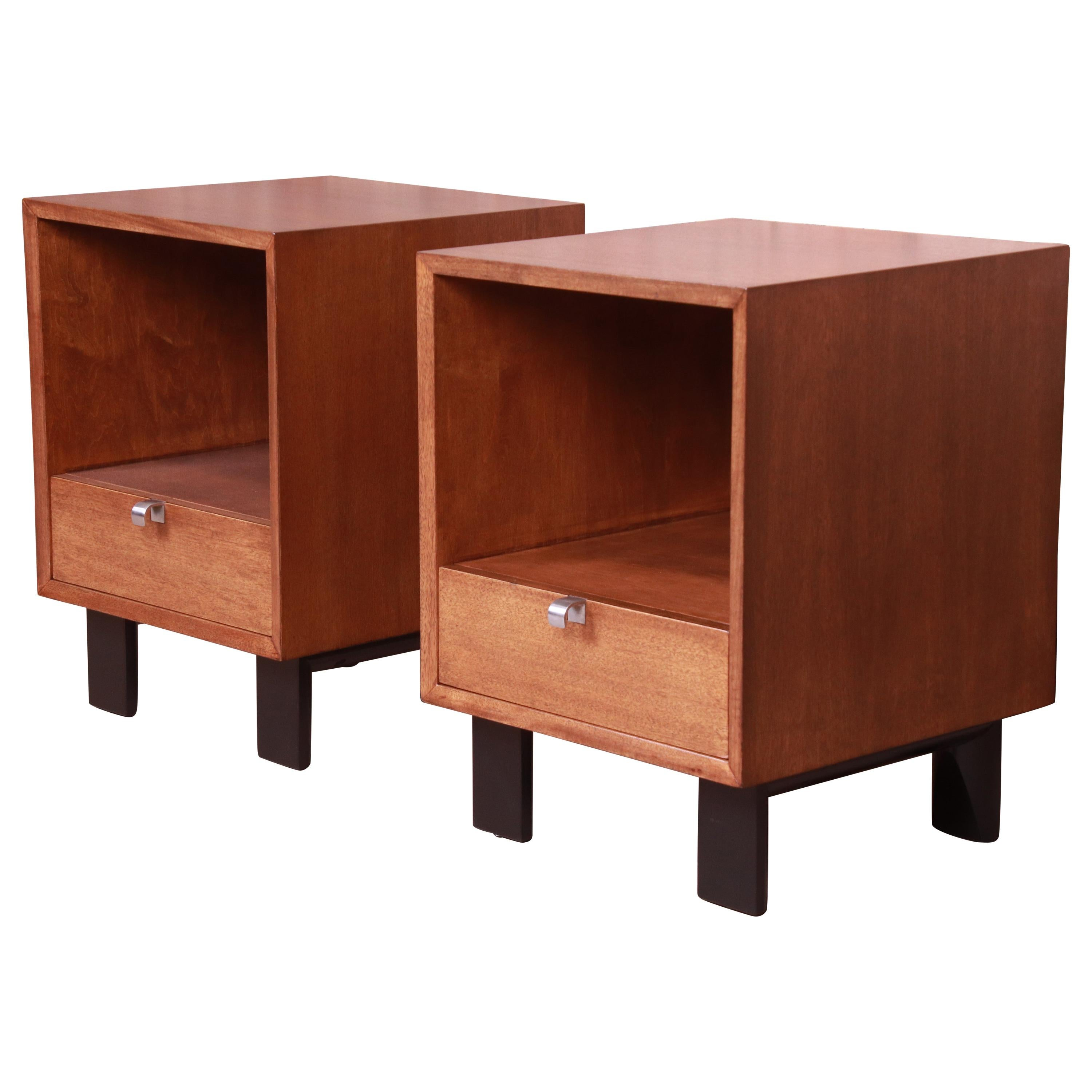 George Nelson for Herman Miller Walnut Nightstands, Newly Refinished
