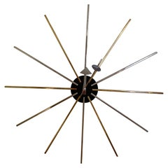 George Nelson for Vitra Brass and Chrome Star Wall Clock