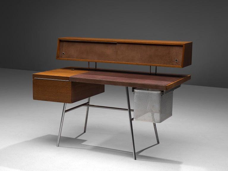 American George Nelson Functional Desk in Walnut For Sale