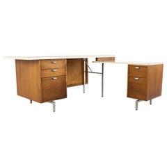 George Nelson Herman Miller Style Robert John MCM Walnut Laminate Cane Exec Desk