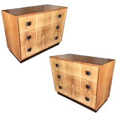 George Nelson Inspired Walnut Lowboy Dresser, Pair