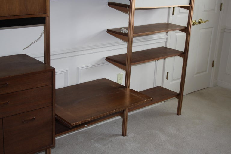 Anodized George Nelson Midcentury Storage Wall Unit Bookcase for Omni For Sale