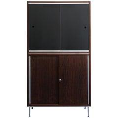 George Nelson Midcentury Dark Wood Cabinet, 1960s