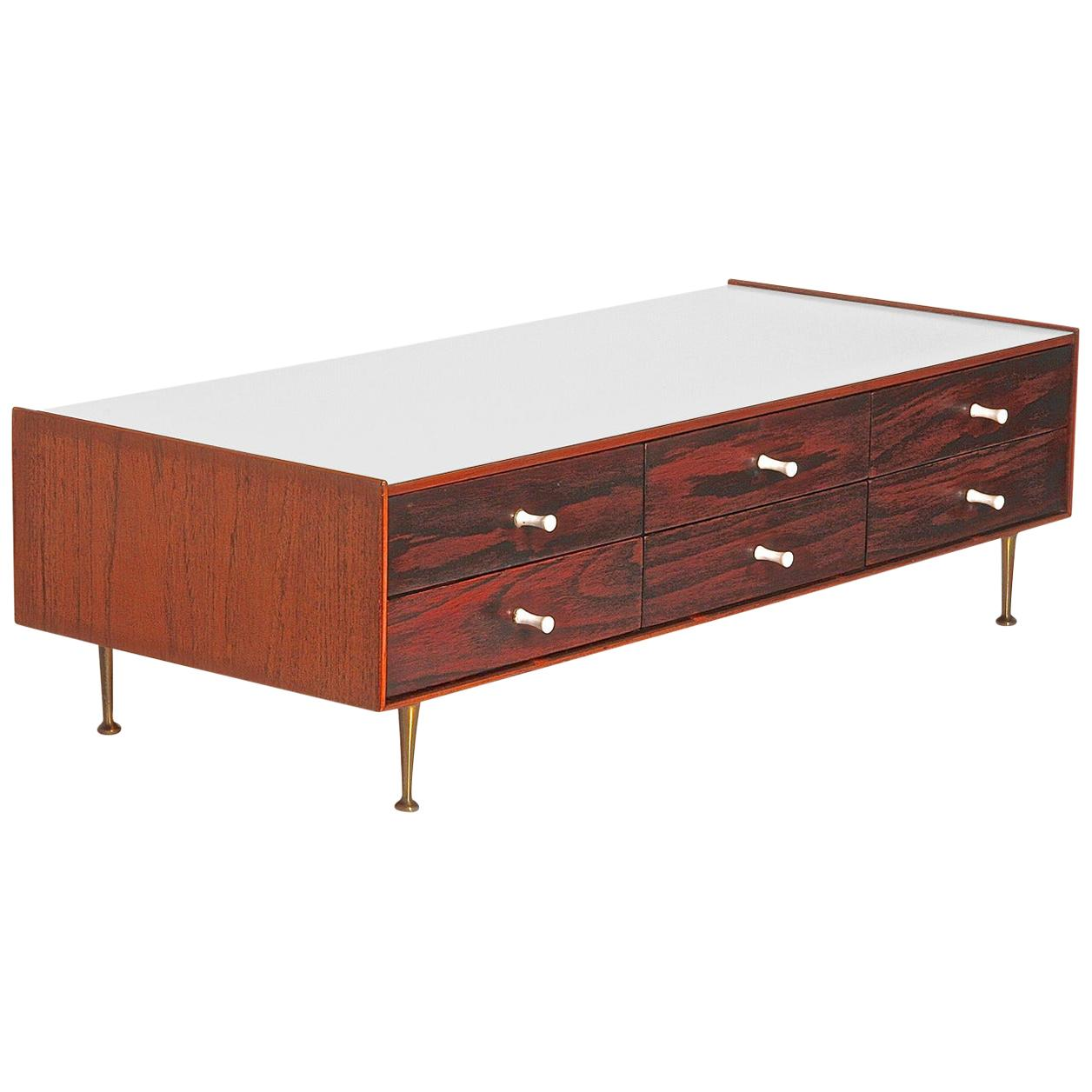 George Nelson Model 5215 Rosewood Jewelry Chest with Miniature Legs, USA 1955