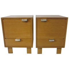 George Nelson Nightstands with Silver Plated Handles