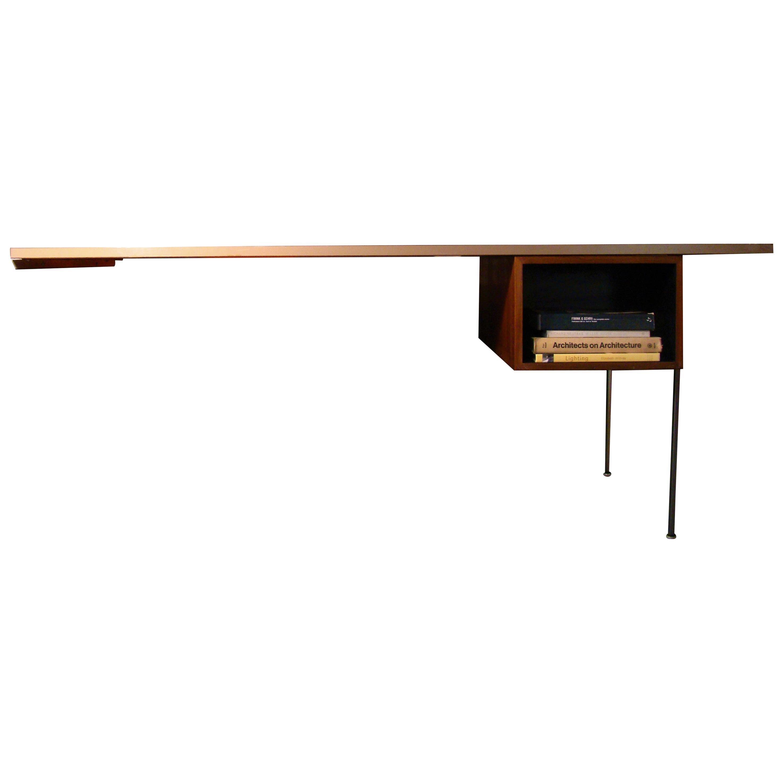"George Nelson ""Omni"" Wall-Mounted Walnut Modular Desk Unit, USA"