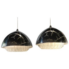 George Nelson Pair of Lucite /Polished Aluminum Nimbus Pendants Nessen Studio