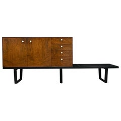 George Nelson Rosewood Thin Edge Cabinet on Original Slat Bench Midcentury