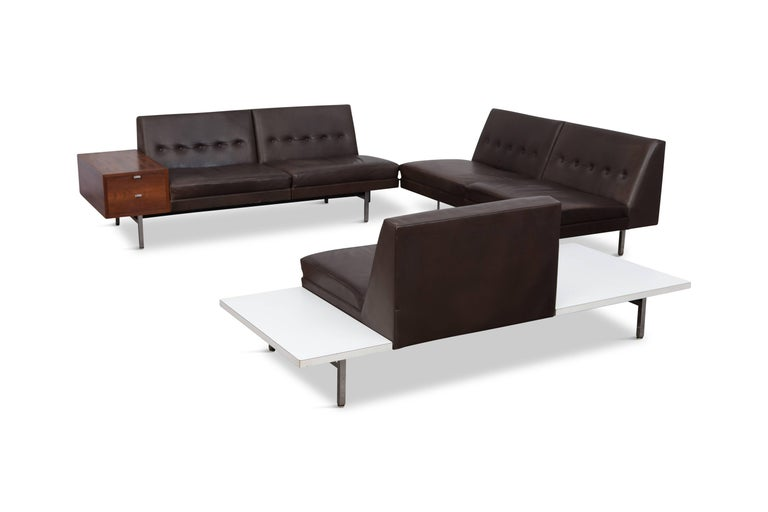 George Nelson Sectional Sofa In Dark Leather For Herman