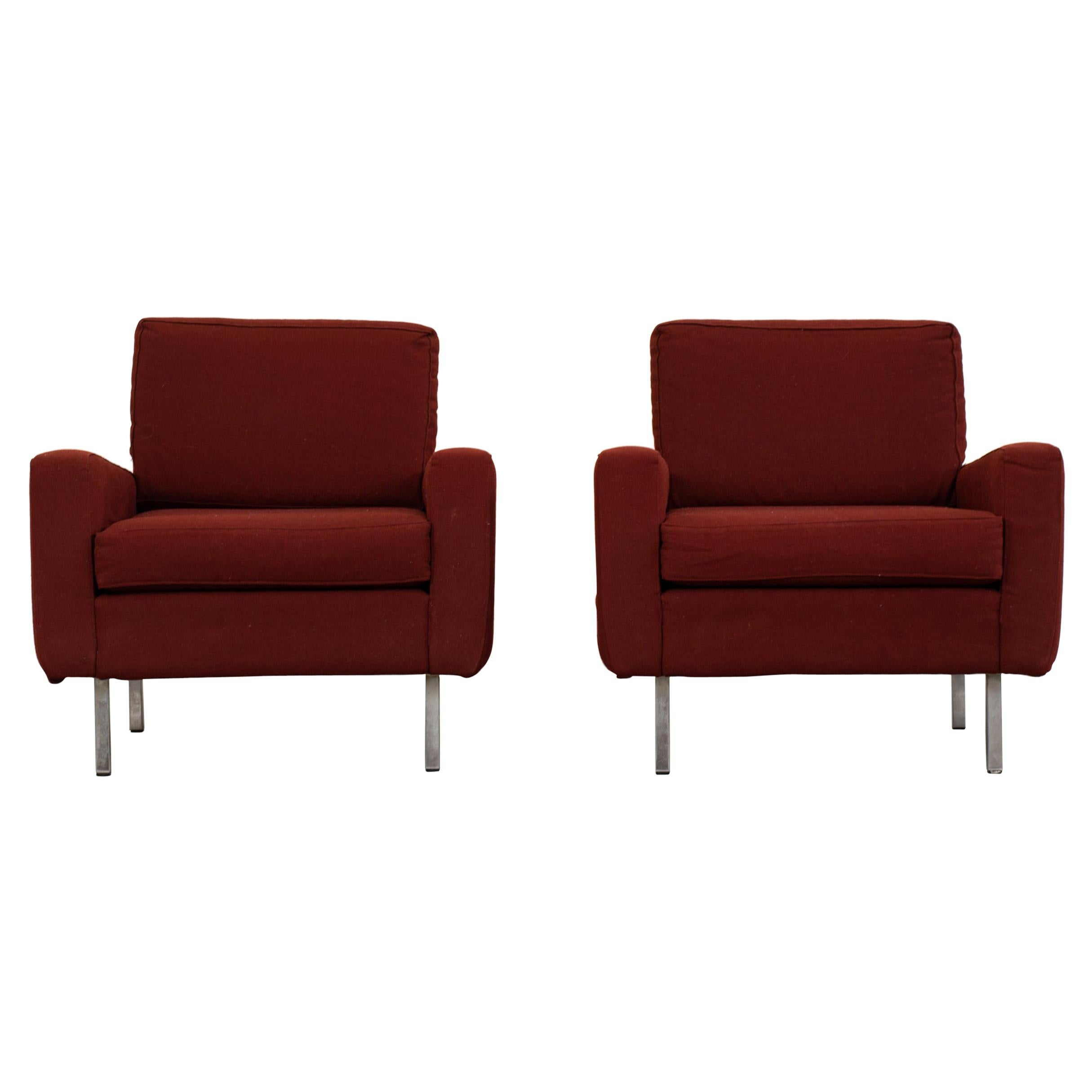 George Nelson Set of Two Armchairs in Red Fabric for Herman Miller