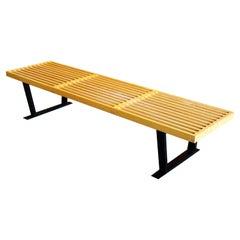 "George Nelson Slat Birch ""Platform Bench"" Manufactured by Herman Miller"
