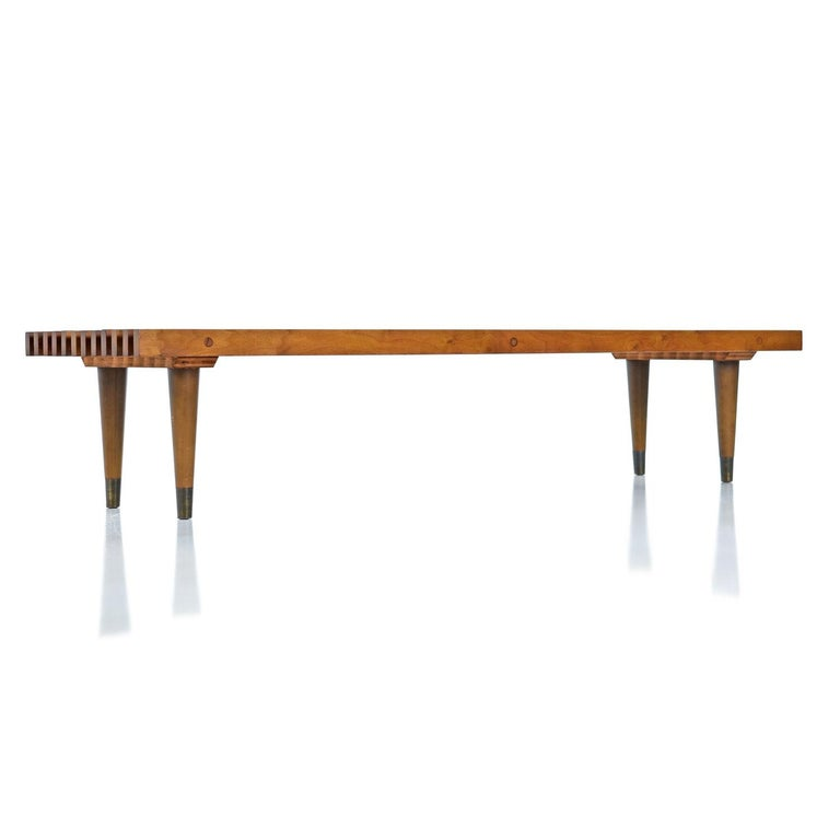 American George Nelson Style Mid-Century Modern Beechwood Slat Bench Coffee Table For Sale
