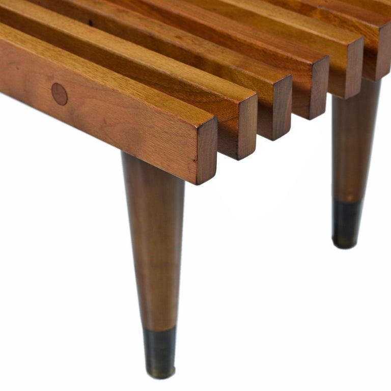 Mid-20th Century George Nelson Style Mid-Century Modern Beechwood Slat Bench Coffee Table For Sale