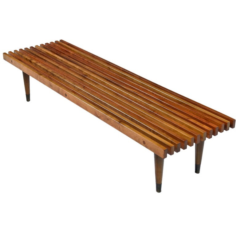 George Nelson Style Mid-Century Modern Beechwood Slat Bench Coffee Table For Sale