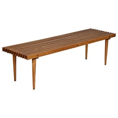 George Nelson Style Mid-Century Modern Beechwood Slat Bench Coffee Table