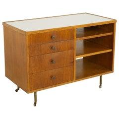 George Nelson Style Mid Century Oak Bar Cart