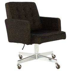 George Nelson Style Shaw Walker Chrome Tufted Wool Upholstered Office Desk Chair