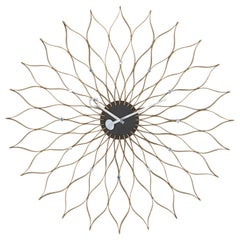George Nelson Sunflower Wall Clock, Wood and Metal by Vitra