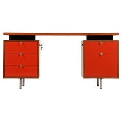 George Nelson Two-Tone Lacquer and Walnut Executive Desk for Herman Miller