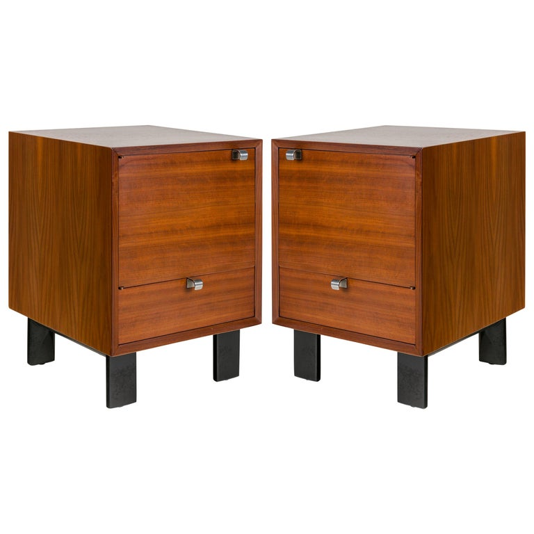George Nelson Walnut Nightstands for Herman Miller, USA, 1950s For Sale