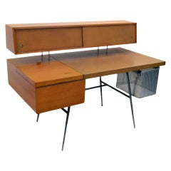 George Nelson Wood and Leather Office Desk for Herman Miller, USA 1948