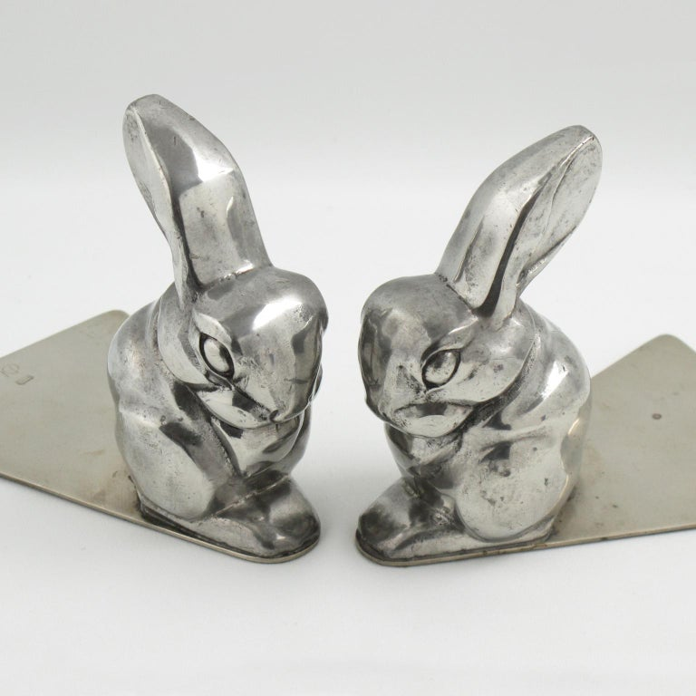 George Nilsson for Gero 1930s Art Deco Chrome Rabbit Bookends For Sale 3