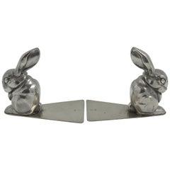 George Nilsson for Gero Art Deco Chrome Rabbit Bookends