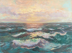 'Sunset Waves', Impressionist Seascape, Boston Museum, New York