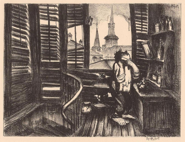 Springtime in New Orleans (Man Shaving/Jackson Sq apt in New Orleans)           - Black Interior Print by George Overbury Hart
