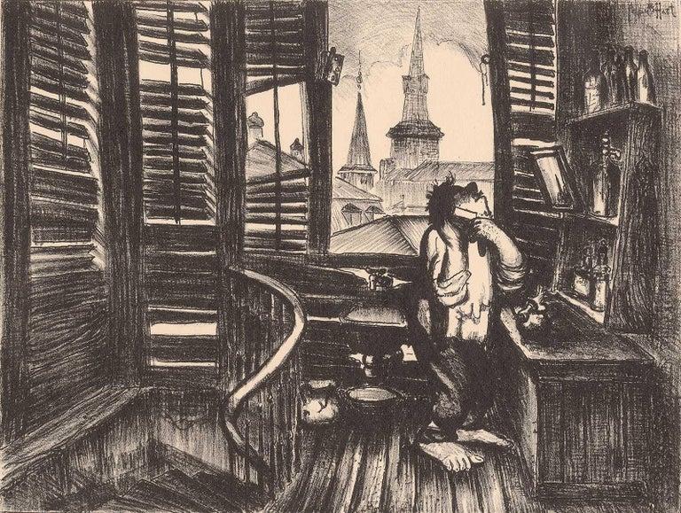 George Overbury Hart Interior Print - Springtime in New Orleans (Man Shaving/Jackson Sq apt in New Orleans)