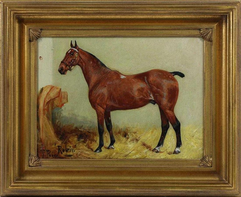 George Paice 'Robin' Equestrian Horse Painting - Brown Animal Painting by George Paice