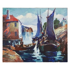 "George Pearse Ennis (1884-1936) Oil on Canvas of Harbor Scene  ""Silvery Light"""