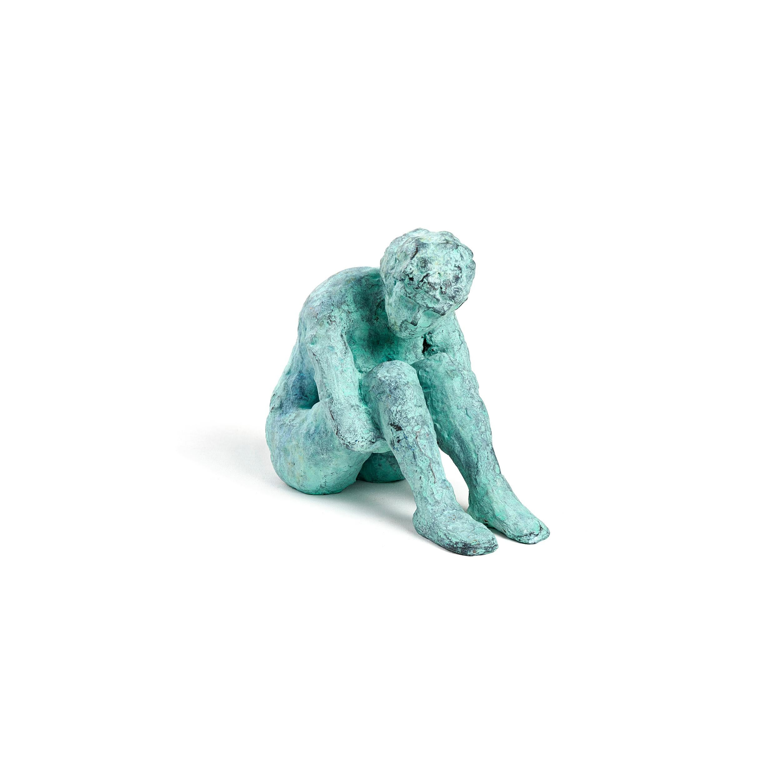 """Alex Withdrawn"" Figurative Sculpture, Blue, Green - Unique Multiples"