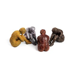 """Four Piece Set of """"Alex Withdrawn"""" Nude Abstract Figurative Sculptures"""