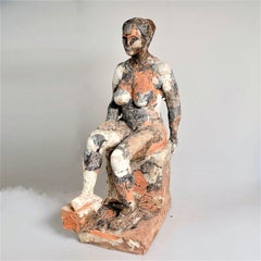 """""""Erika Enthroned"""" Nude Figurative Sculpture, Grey, White, Clay"""