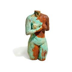 """Frances of Auxerre"" Nude Figurative Medium Sculpture, Red, Green, Blue"