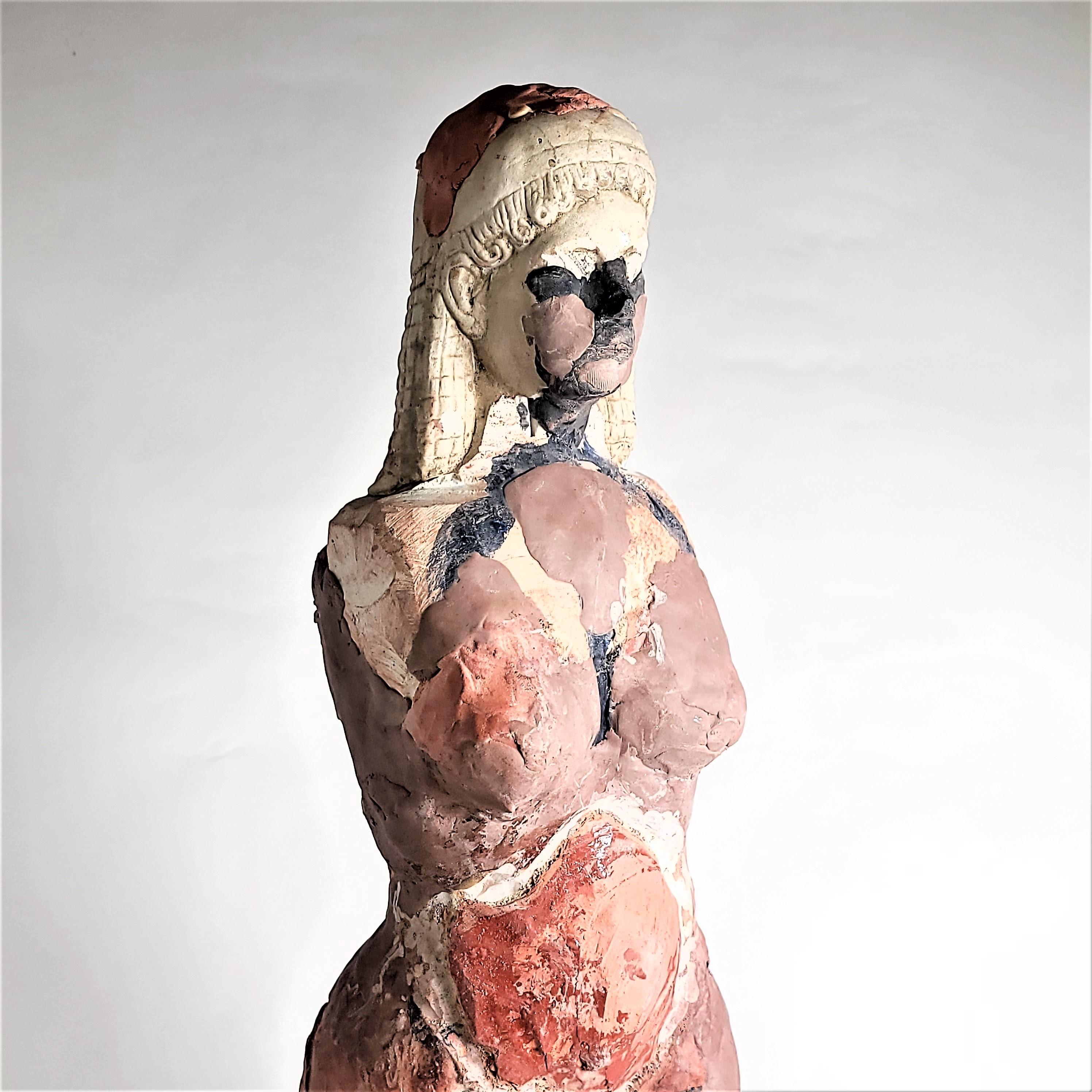 """Kore of 1821"" Medium Nude Figurative Sculpture, Orange, Brown, White"