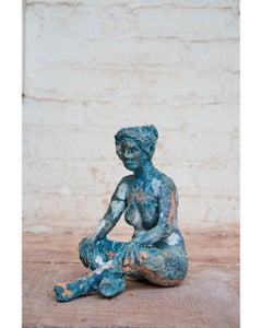 """""""Yuna Meditating"""" Nude Figurative Sculpture, Blue, White"""