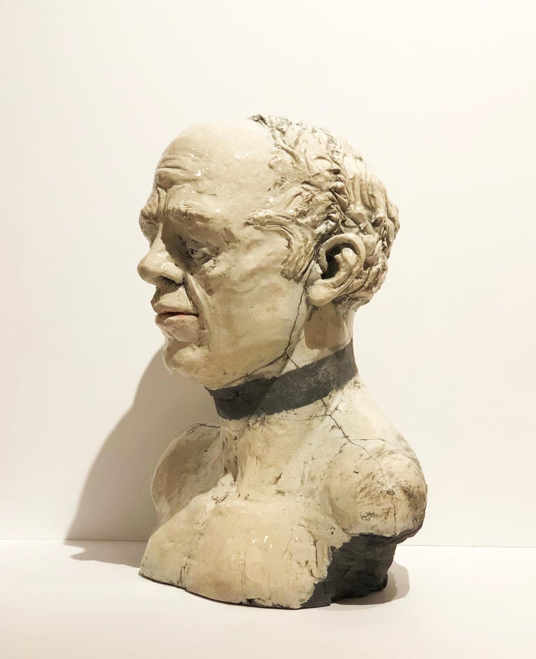George, Raku Fired Modern White Ceramic Bust of Male Head by Pavel Amromin For Sale 4